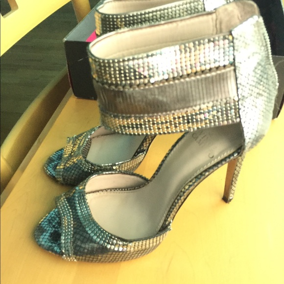Vince Camuto Shoes - Vince Camuto Silver mesh ankle heel sandals